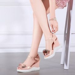 YOUIN - Wedge Ruffle Sandals