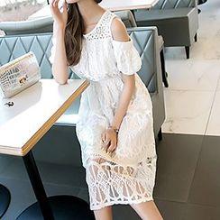 lilygirl - Lace Cold Shoulder Midi Dress