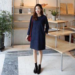 Seoul Fashion - Long-Sleeve Denim Shift Dress