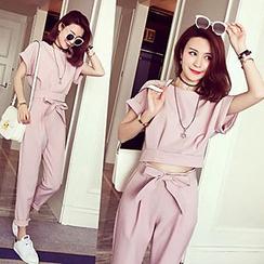 lilygirl - 套裝: 純色短袖上衣 + 蝴蝶結低胯褲