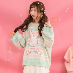 Moriville - Rabbit Applique Striped Long Sweater