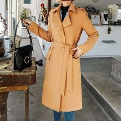 Seoul Fashion - Open-Front Trench Coat with Sash