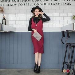 OrangeBear - Ribbed Knit Slit Slip Dress