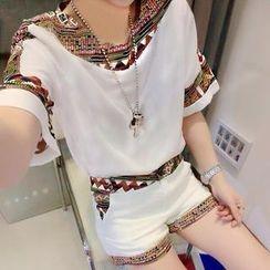 TANGYIZI - Set: Ethnic Pattern Chiffon Blouse + Shorts