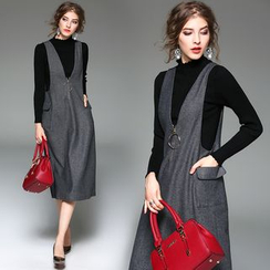 Y:Q - Set: Mock Neck Long-Sleeve Knit Top + V-Neck Midi Pinafore Dress