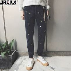 Jacka - Star Embroidered Straight-Cut Jeans