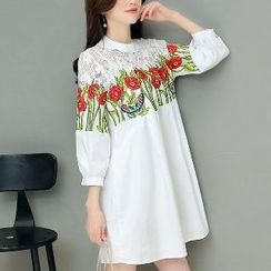 Romantica - Lace-Panel Floral Tunic