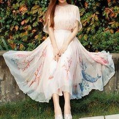 Amella - Short-Sleeve Printed Chiffon Dress
