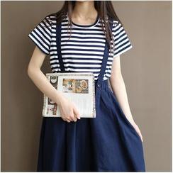 Nycto - Set: Stripe Short-Sleeve T-Shirt + Suspender Skirt
