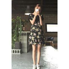 CHERRYKOKO - Floral Chiffon A-Line Jumper Dress