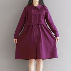Queen Bee - Pleated Midi Shirtdress
