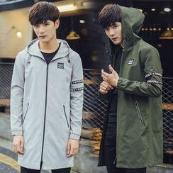 LIBIN - Lettering Applique Hooded Long Jacket