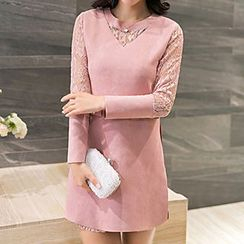 Athena - Long-Sleeve Lace-Panel Dress