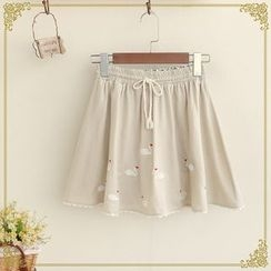 Fairyland - Embroidered Drawstring Waist Culottes