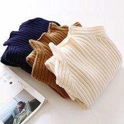 布丁坊 - 罗纹高领毛衣