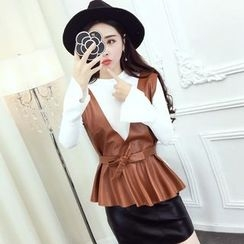 Jolly Club - Set of 3: Long-Sleeve Top + Faux-Leather Vest + Faux-Leather Skirt
