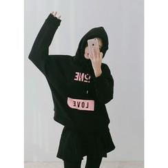 J-ANN - Hooded Brushed-Fleece Pullover
