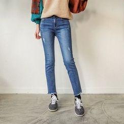 Seoul Fashion - Fringe-Hem Washed Tapered Jeans
