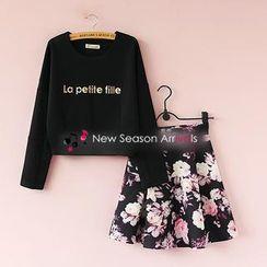 Munai - Set: Lettering Sweatshirt + Floral Skirt