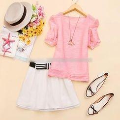 Sunny Dream - Set: Short-Sleeve Textured Top + A-Line Miniskirt