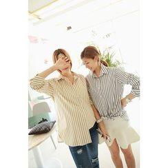 Momnuri - Maternity Wide-Cuff Stripe Shirt