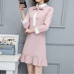 Lavogo - Color Panel Bow Accent Long Sleeve Dress