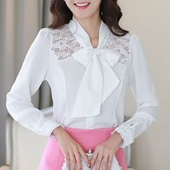 Ekim - Bow Collared Lace Panel Chiffon Blouse