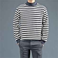 THE COVER - Mock-Neck Stripe Top