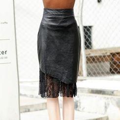 NINETTE - Faux-Leather Paneled Pencil Skirt