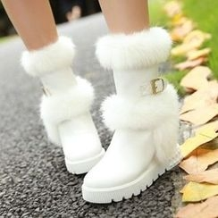 Tomma - Furry Platform Wedge Short Boots