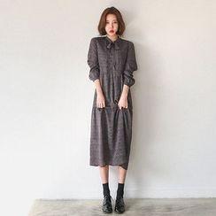 Seoul Fashion - Patterned Long Chiffon Dress