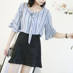 Ranche - Elbow-Sleeve Striped Blouse