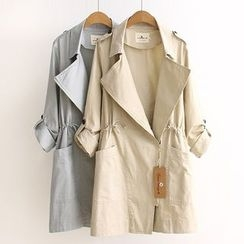 Acoustic Rain - Drawstring Waist Trench Coat