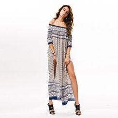 Hotprint - Patterned Off-Shoulder Maxi Dress