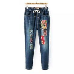 Tangi - 拼布直筒牛仔褲
