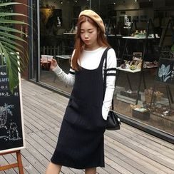 TriStyle - Ribbed Knit Midi Pinafore Dress