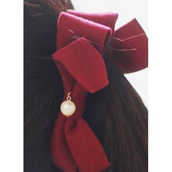 kitsch island - Faux-Pearl Bow Hair Clamp