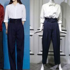 JOYIST - 2017早春明星範冰冰同款OL氣質襯衫高腰顯瘦系帶藍闊腿褲長褲女