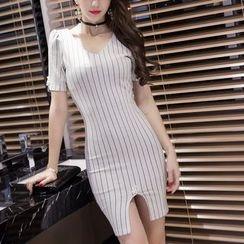 Sherbo - Short-Sleeve Beaded Striped Sheath Dress