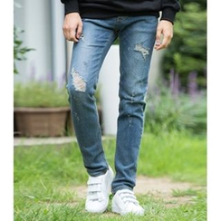 ABOKI - Distressed Straight-Cut Jeans