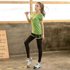 PUDDIN - Sports Set: Quick Dry Short-Sleeve Top + Piped Inset Leggings