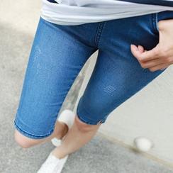 CLICK - Banded-Waist Denim Shorts