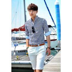 HOTBOOM - Pinstripe Cuff-Sleeve Shirt