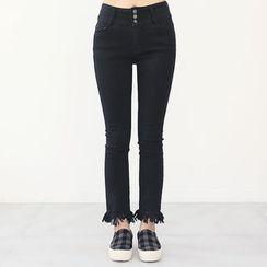 DANI LOVE - Fringe-Hem Brushed-Fleece Lined Straight-Cut Pants