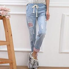 Tulander - Drawstring Distressed Denim Pants