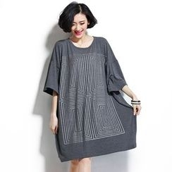 Yalaura - Patterned Elbow-Sleeve Long T-shirt