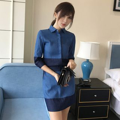 Rosesong - Set: Two-Tone 3/4-Sleeve Shirt + Mini Skirt