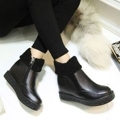 JY Shoes - Side Zip Hidden Wedge Ankle Boots