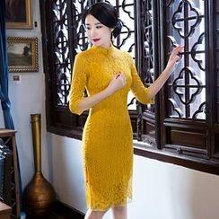 Montebelle - 中袖蕾絲旗袍