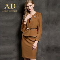 Aision - Pleated Blazer / Pencil Skirt
